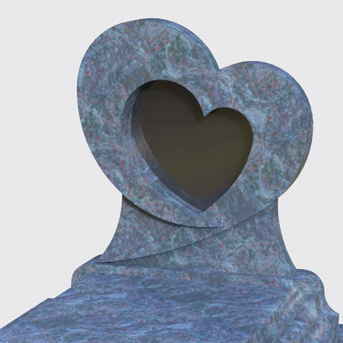 Pierre tombale Lova avec stèle en forme de coeur